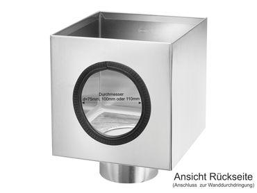 Wasserfangkasten Flachdach kubisch mit Zulauf (hinten), L/B/H 200x200x200mm  – Bild 2