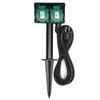 Heitech 2-fach Gartensteckdose 3m mit Erdspiess IP44 - schwarz/grün TÜV/GS-Zeichen
