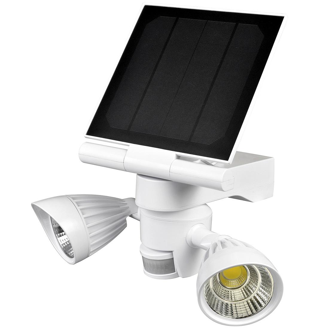 Heitech Solar-LED-Doppel-Außenlstrahler mit Bewegungsmelder und Lichtsensor