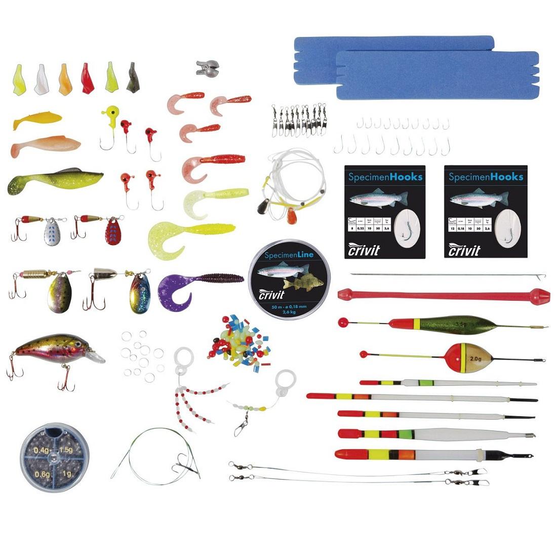Crivit Angelzubehörbox Raubfisch-Sortiment mit Box Forelle und Barsch - 144 Teile