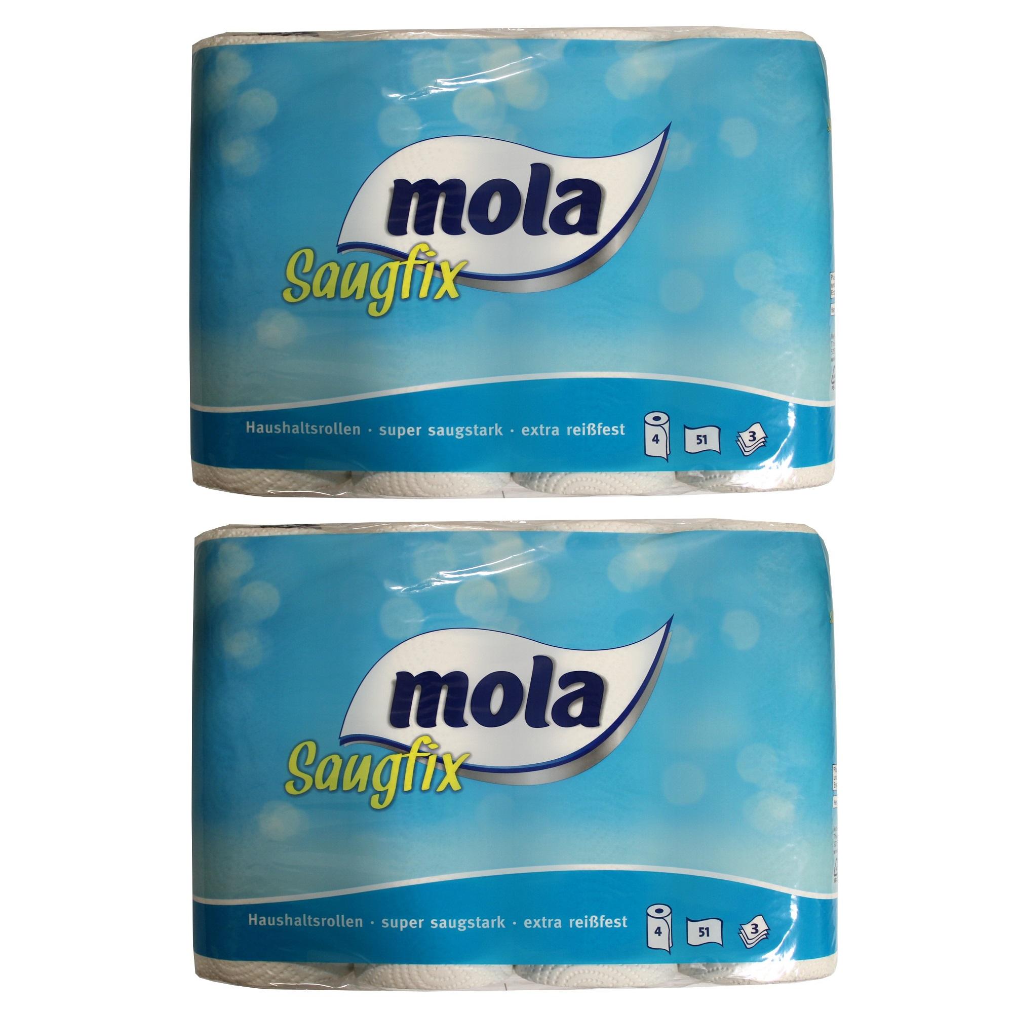 Mola 8x Saugfix Küchenrolle 3-lagig 51 Blatt Küchenpapier