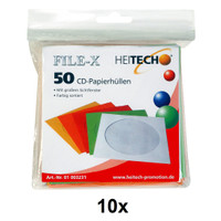 Heitech 500 CD-Papierhüllen in 5 Farben sortiert auch für DVDs