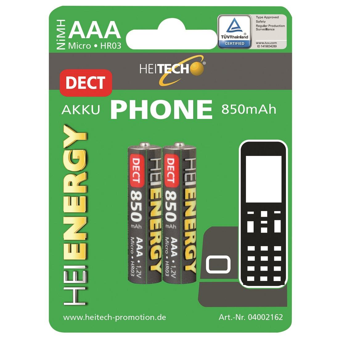 Heitech NiMH Akku 850 mAh für DECT Telefone Typ Micro AAA 2er-Pack