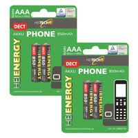Heitech NiMH Akku 850 mAh für DECT Telefone Typ Micro AAA 4er-Pack