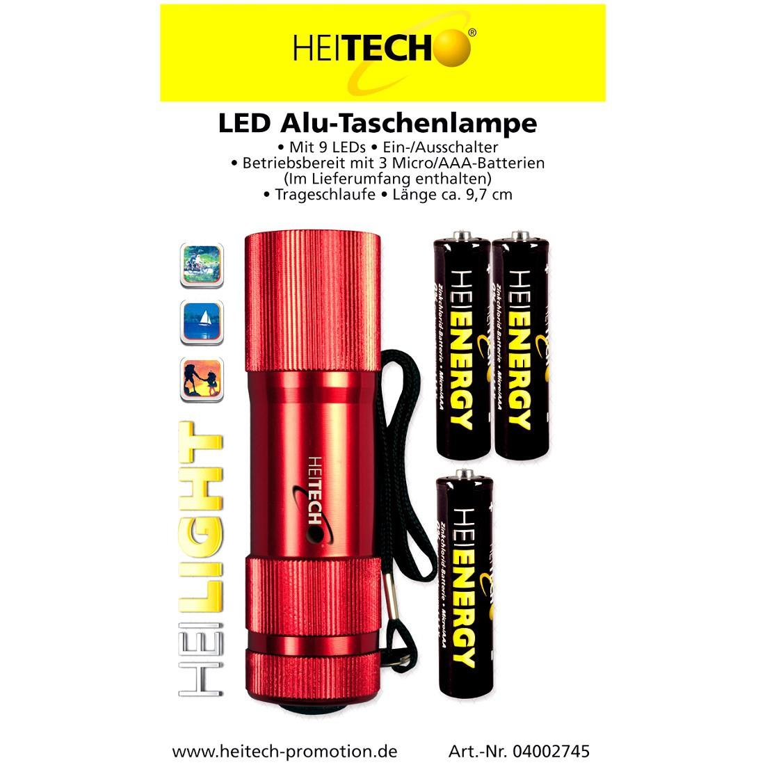 Heitech LED Alu-Taschenlampe mit 9 LEDs, inkl. Batterien - rot
