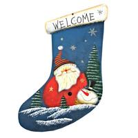 I-Glow WKS 02 Willkommensschild Türschild für Weihnachten aus Holz - blauer Stiefel