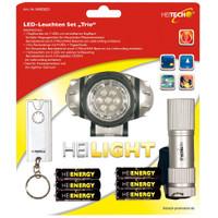 Heitech LED-Leuchten Trio mit Taschenlampe, Kopflampe, Schlüsselleuchte inkl. Batterien
