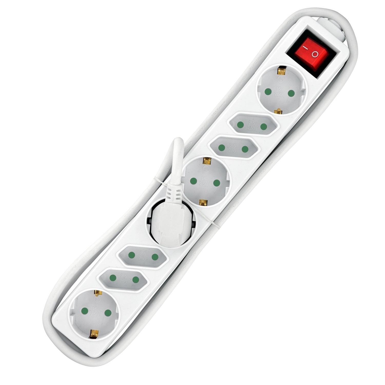 Heitech 8-fach Steckdosenleiste in weiss mit Schalter und GS-Zeichen