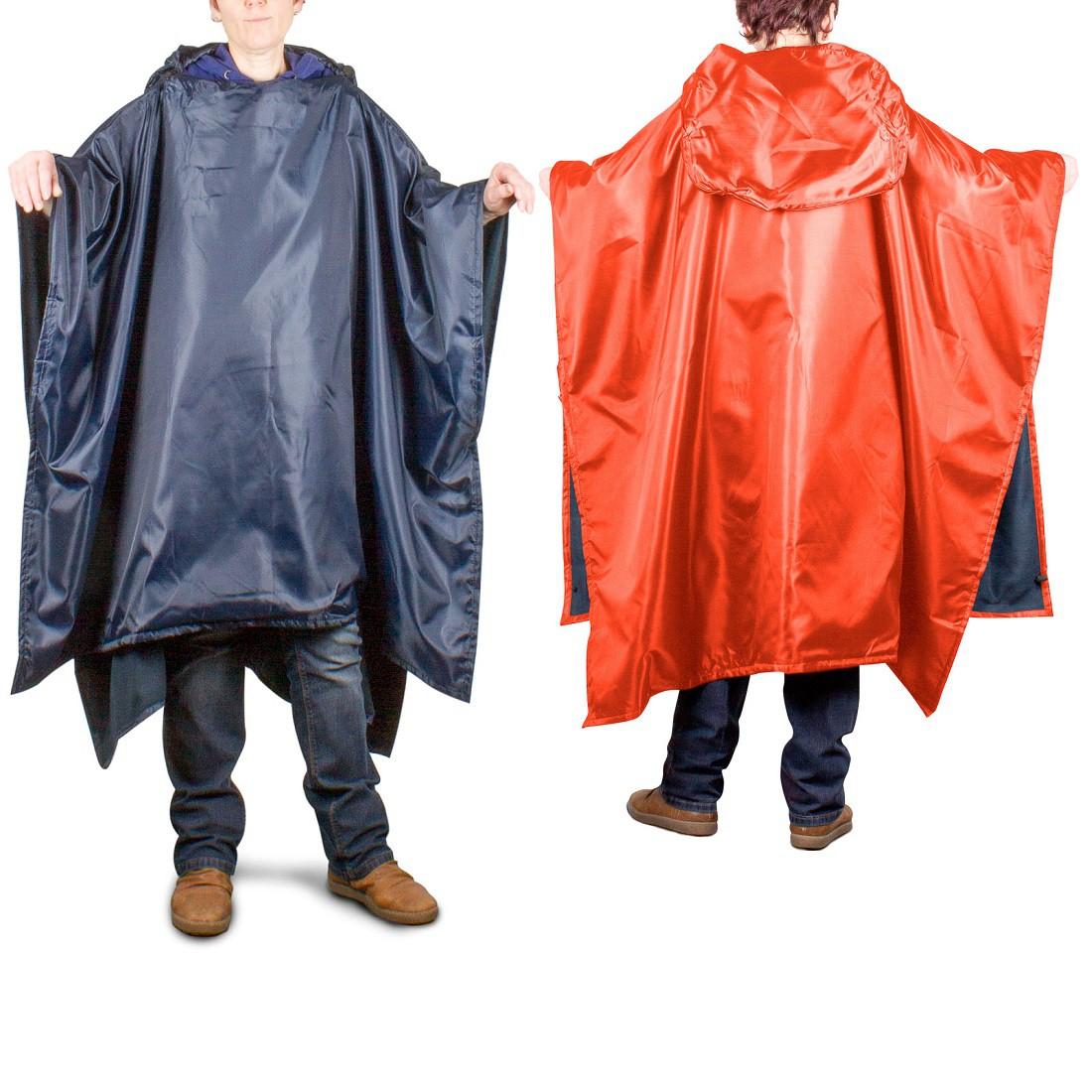 Julido 3 in 1 Regenponcho Sitzkissen Wendedecke in Einheitsgröße - blau oder orange