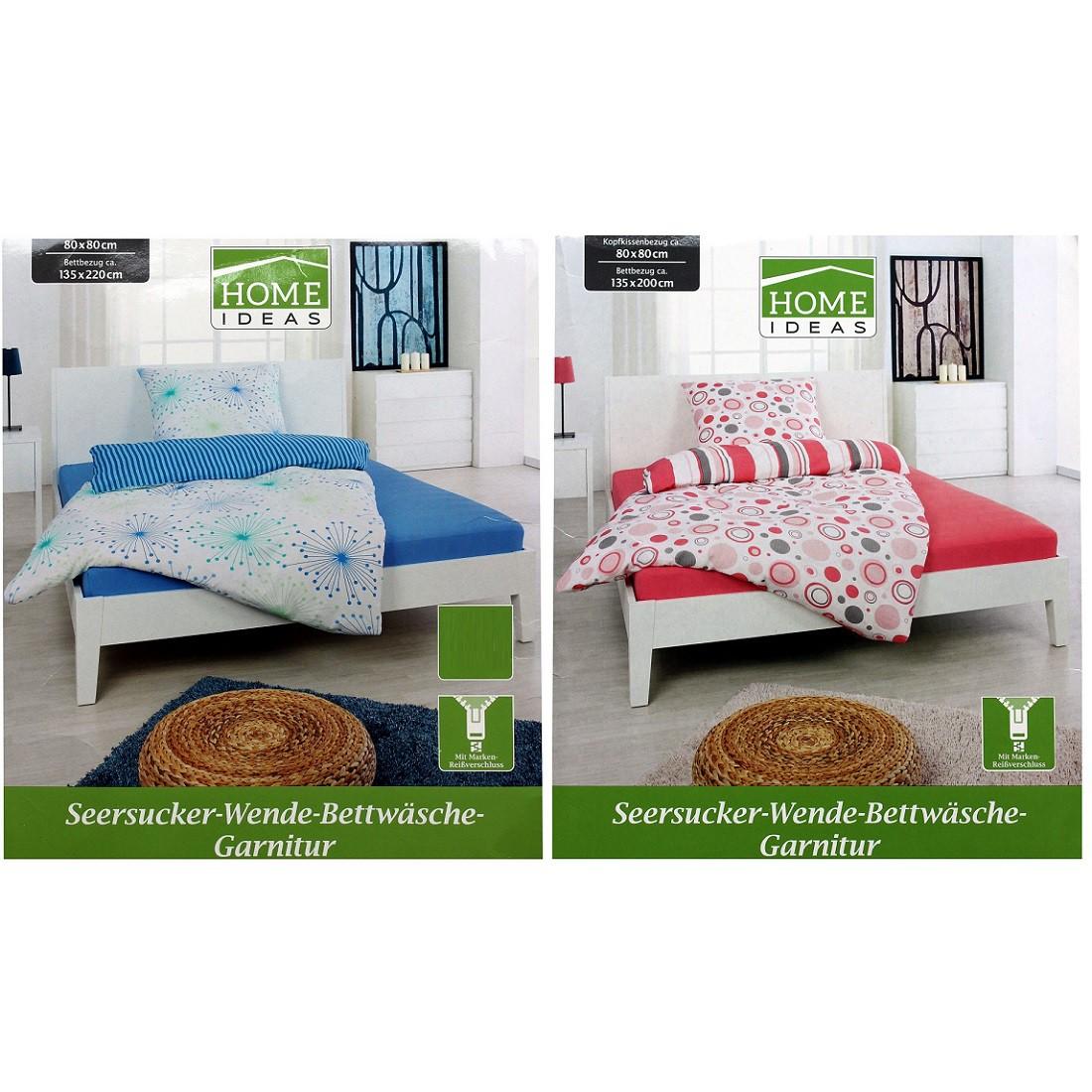 Home Ideas Seersucker-Wende-Bettwäsche-Garnitur 135 x 200 cm und 155 x 220 cm - blau oder rot