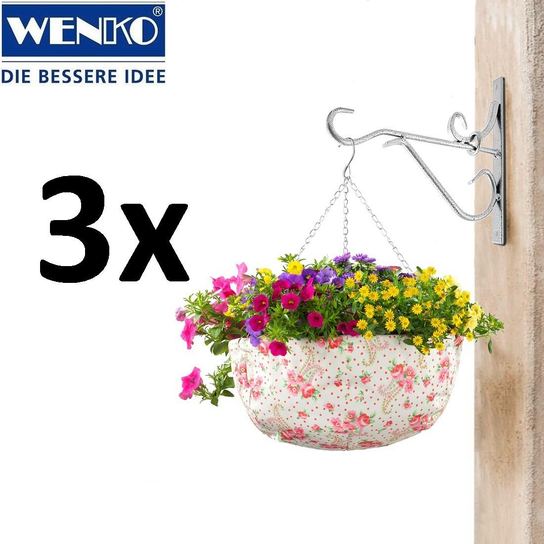 WENKO 3er-Set Blumen-Ampel Rosendekor 36 cm