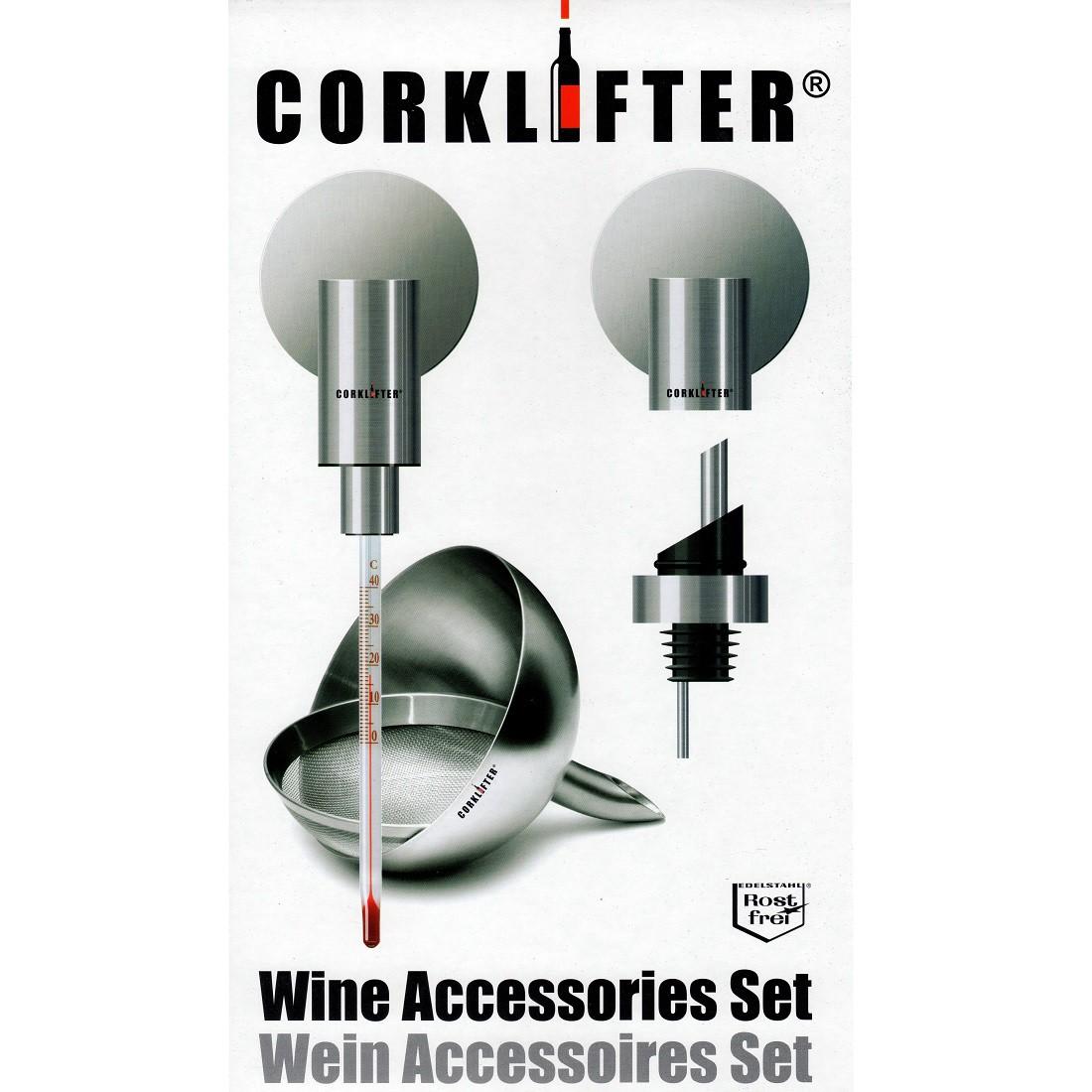 CORKLIFTER CL 15 Wein Set mit Weinthermometer, Flaschenstopfen mit Ausgiesser und Dekantiertrichter mit Sieb