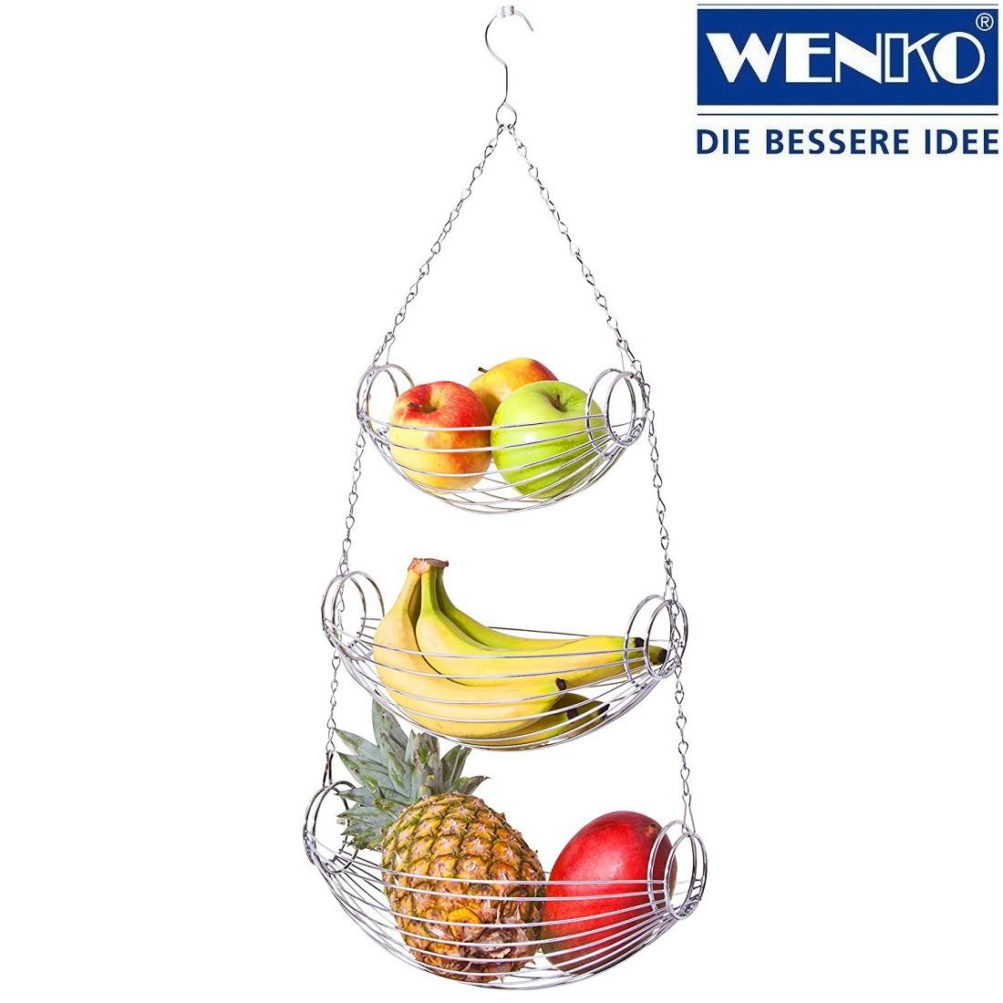 WENKO Küchenampel Triago Hängeetagère mit 3 Etagen aus Metall - verchromt