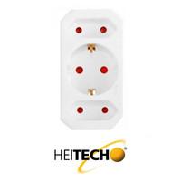 Heitech 3-fach Stecker mit Kindersicherung TÜV-Zeichen