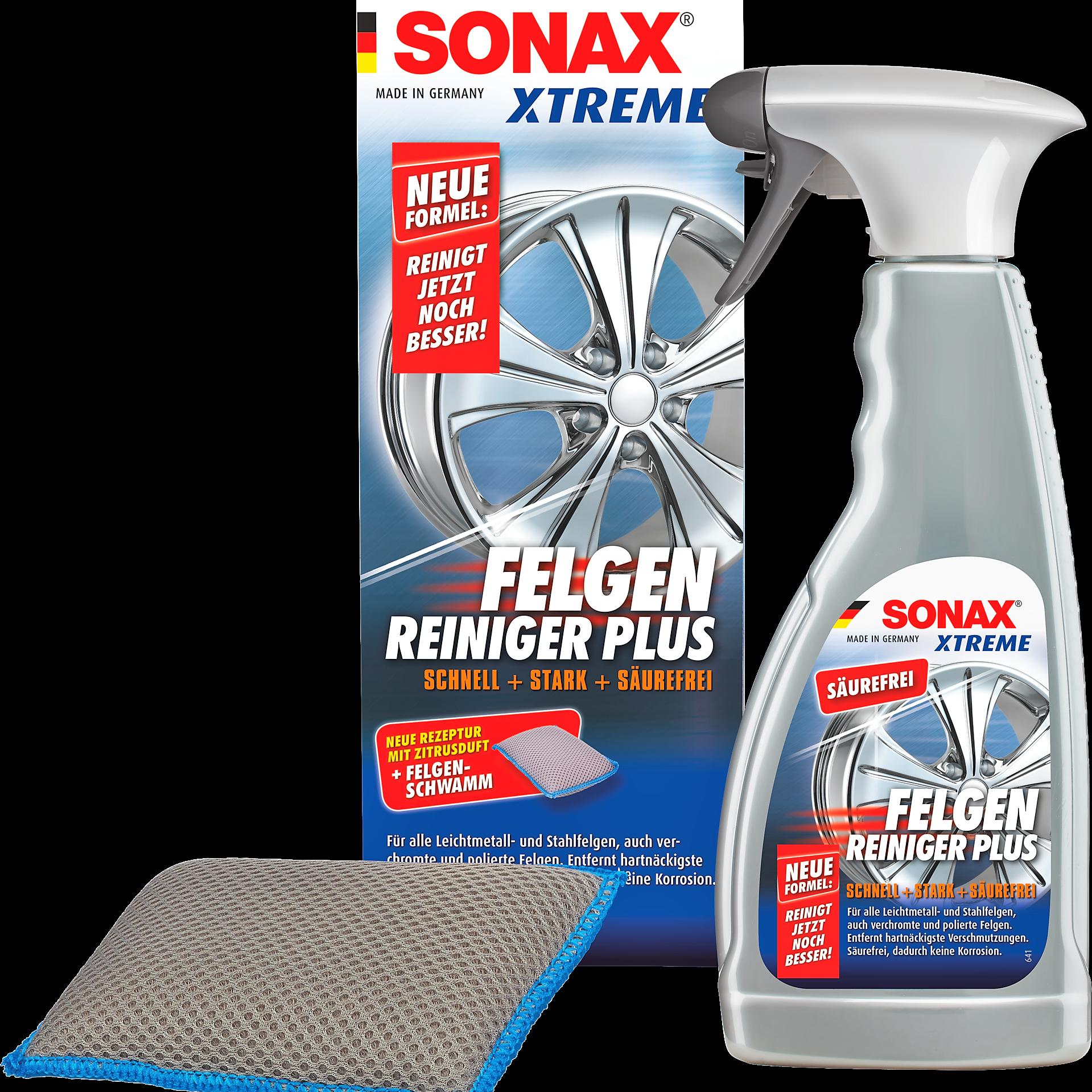 Sonax Xtreme Felgenreiniger PLUS säurefrei inkl. Felgenschwamm für Felgen Alufelgen