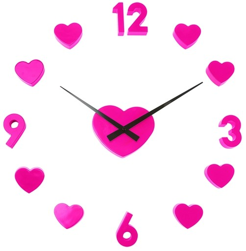 Wanduhr DIY Love pink