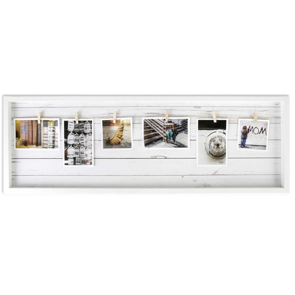 Bildergalerie / Fotorahmen weiß mit 6 Klammern, 90 x 30 cm