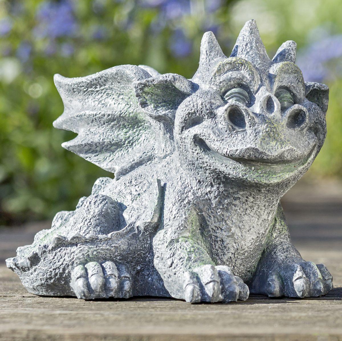 Drachen Gartenfigur Lucio Variante Liegend