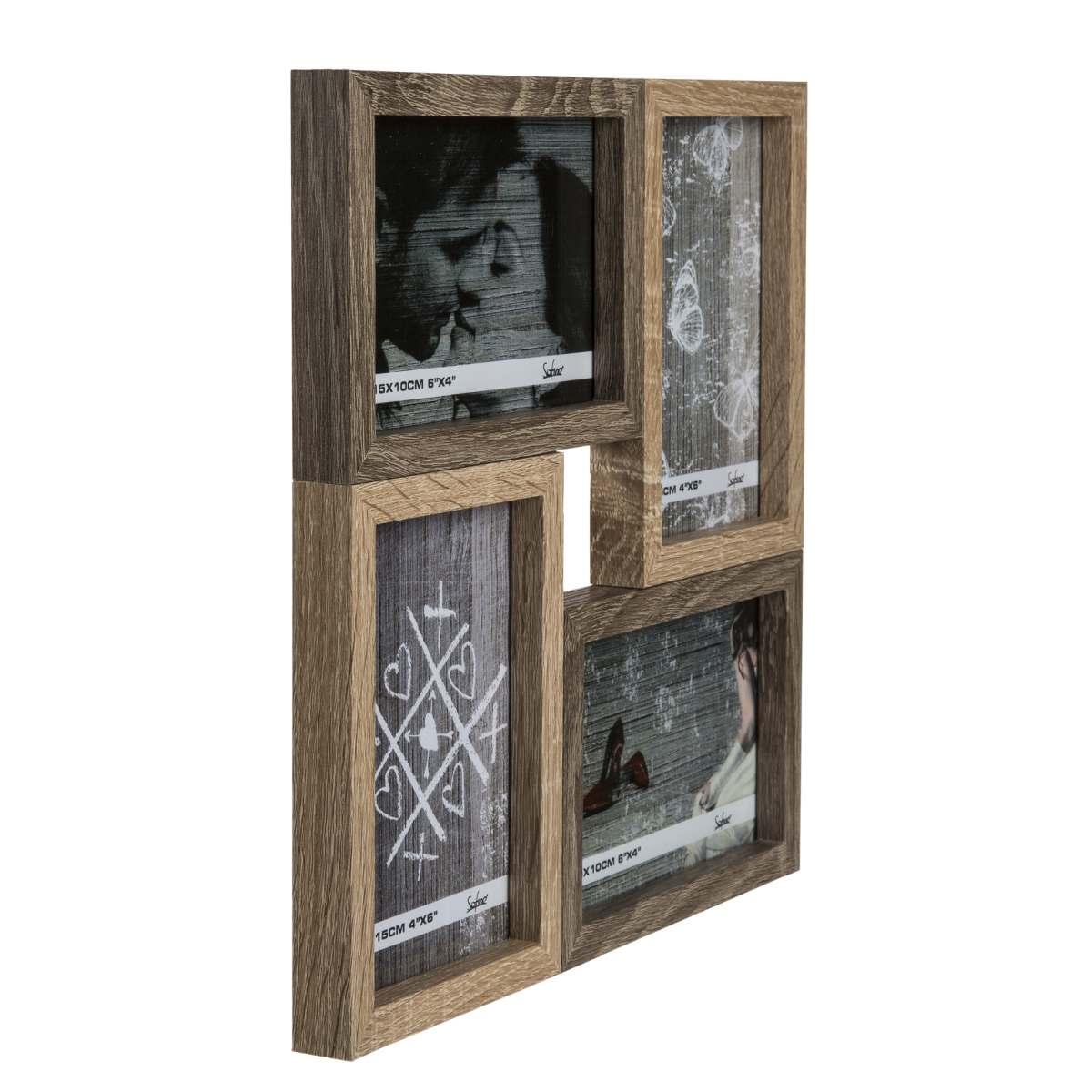 Holz Bilderrahmen Simple Style für 4 oder 6 Fotos 10 x 15 cm