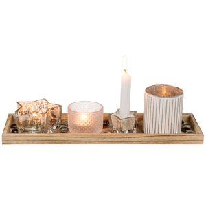 Holzteller + 3 Glas Teelichthalter, 1 Stabkerzenhalter, Dekosteine inkl. Kerzen0