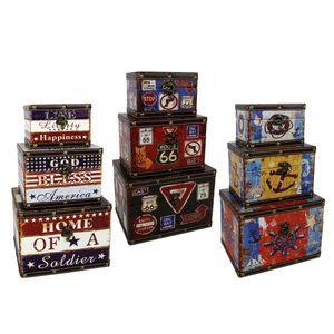 3er Set Aufbewahrungs-Boxen | Motiv: USA