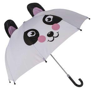 Kuppel Regenschirm Panda | Weiß Schwarz Rosa