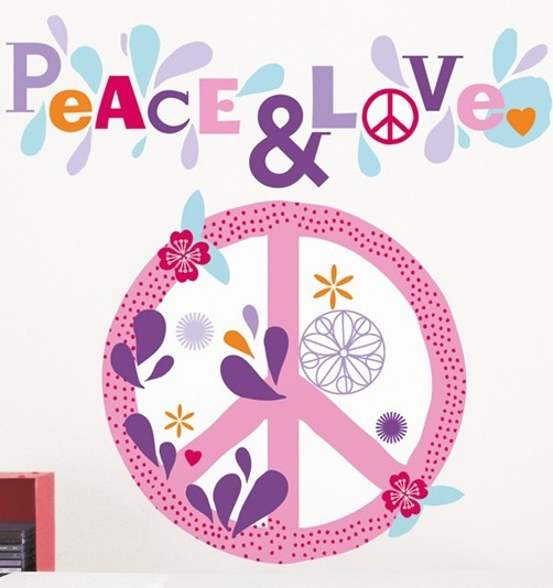 Wandtattoo Peace & Love Flower Power