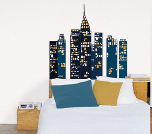 wandtattoo new york skyscrapers. Black Bedroom Furniture Sets. Home Design Ideas