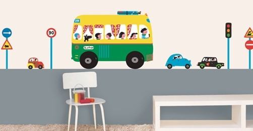 Xxl kinder wandtattoo bus und autos for Wandtattoo kinderzimmer auto