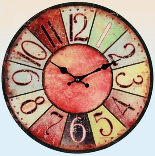 Glas Uhr Vintage Colours 38 cm rot