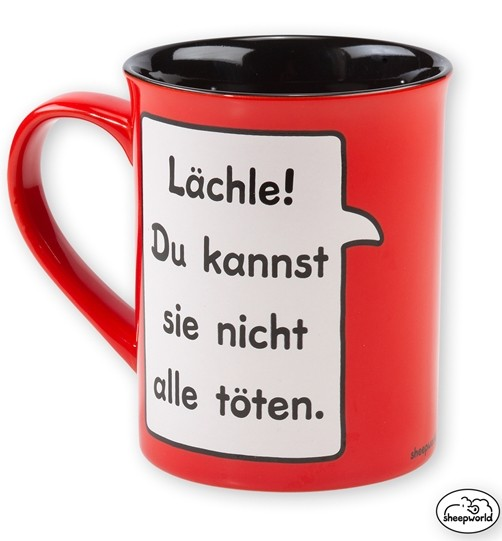 Sheepworld Wortheld Tasse Lächle! rot/schwarz