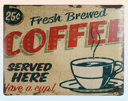 Blechschild Vintage Fresh Coffee hellbraun