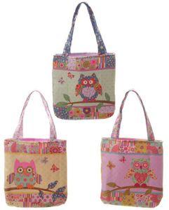 Niedliche Eulen Shopping Bag S | Grün