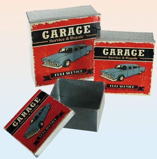 Metall Retro Dosen 3er Set Garage rot