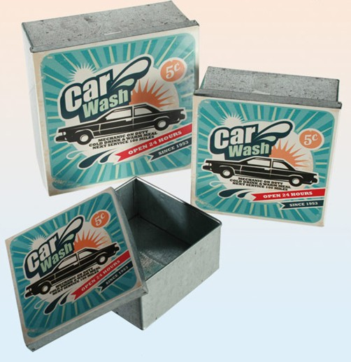 Metall Retro Dosen 3er Set Car Wash