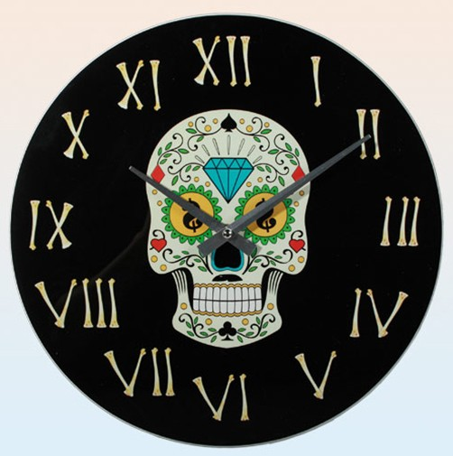 Glas Wanduhr Day of the Dead bunt