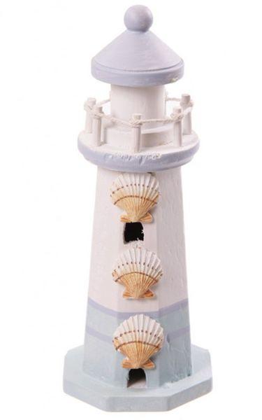 Deko Holz Leuchtturm 22 cm mit 3 Muscheln