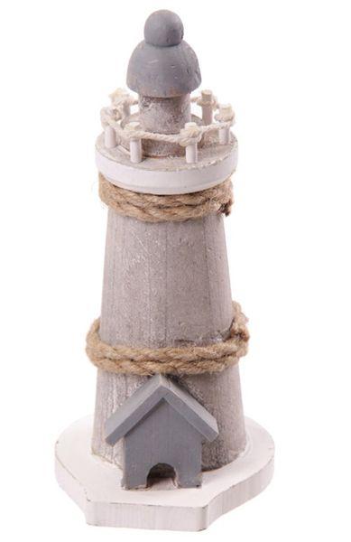 Deko Holz Leuchtturm 17,5 cm mit Seil