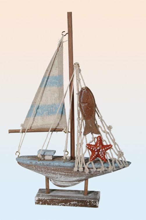 Deko Holz Segelschiff 21cm Mit Gestreiftem Segel