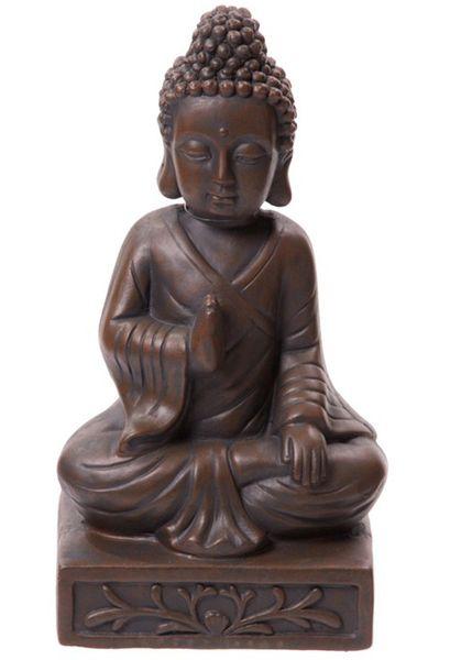 Thai Buddha Figur sitzend braun 33 cm