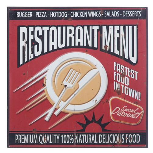 Blechschild Vintage Restaurant Menu
