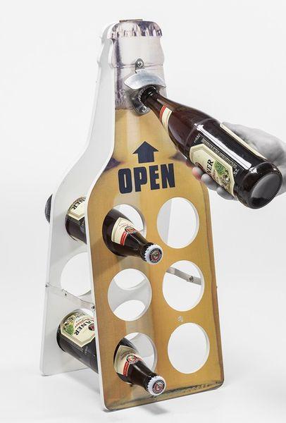 KARE Flaschenhalter Open Bottle gelb mit integriertem Flaschenöffner