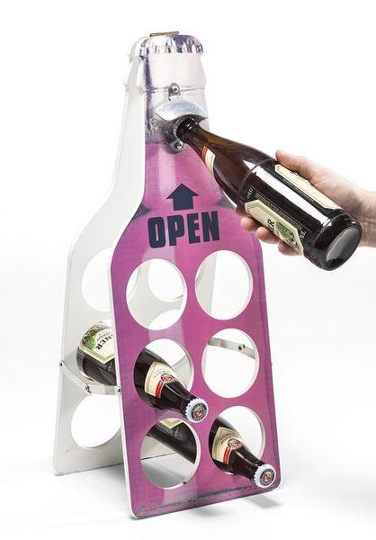 KARE Flaschenhalter Open Bottle pink mit integriertem Flaschenöffner