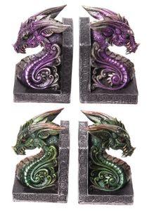 Buchstützen Drache 2er Set in grün oder lila