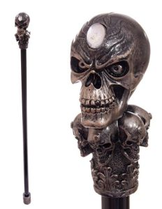 Gehstock mit Skull Griff Bronzeeffekt