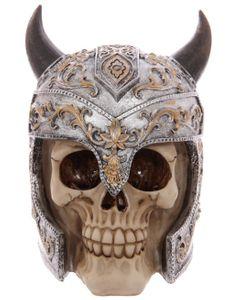 Totenkopf Skull mit Helm und Hörnern
