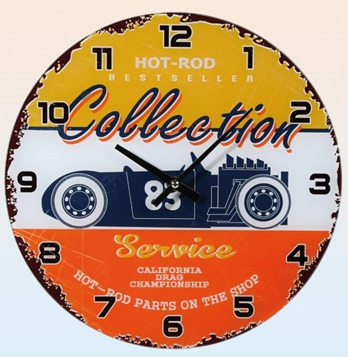 Glas Wanduhr 30 cm Hot-Rod Collection