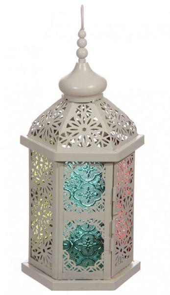 Marokkanische Laterne Creme mit buntem Glas