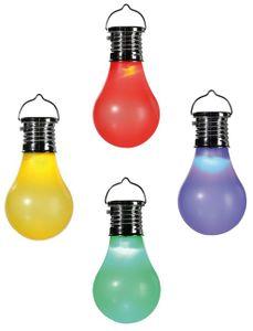 Solar Kunststoff-Glühbirne LED mit Solarzelle zum Aufhängen | Rot
