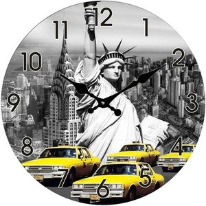 Glas Uhr Statue of Liberty & New York Taxi 38 cm
